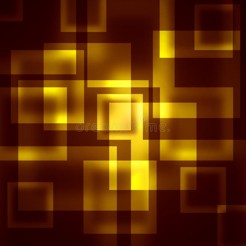 Gold squares on a dark background stock illustration