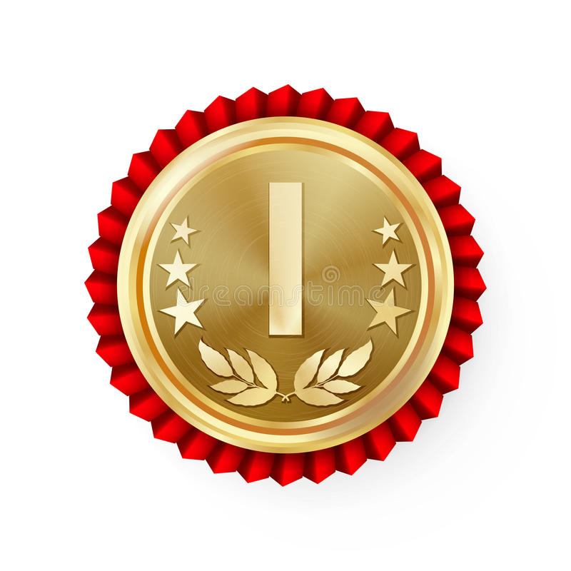 Gold 1st Place Rosette, Badge, Medal Vector. Realistic Achievement With Best First Placement. Round Championship Label With Red Ro stock illustration