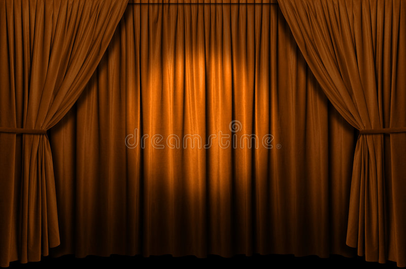 Download Gold Stage Curtain With Spotlight Stock Photo - Image: 4297802