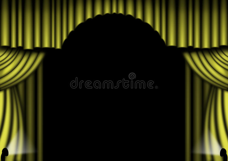 Download Gold Stage Curtains stock illustration. Image of yellow - 12847140