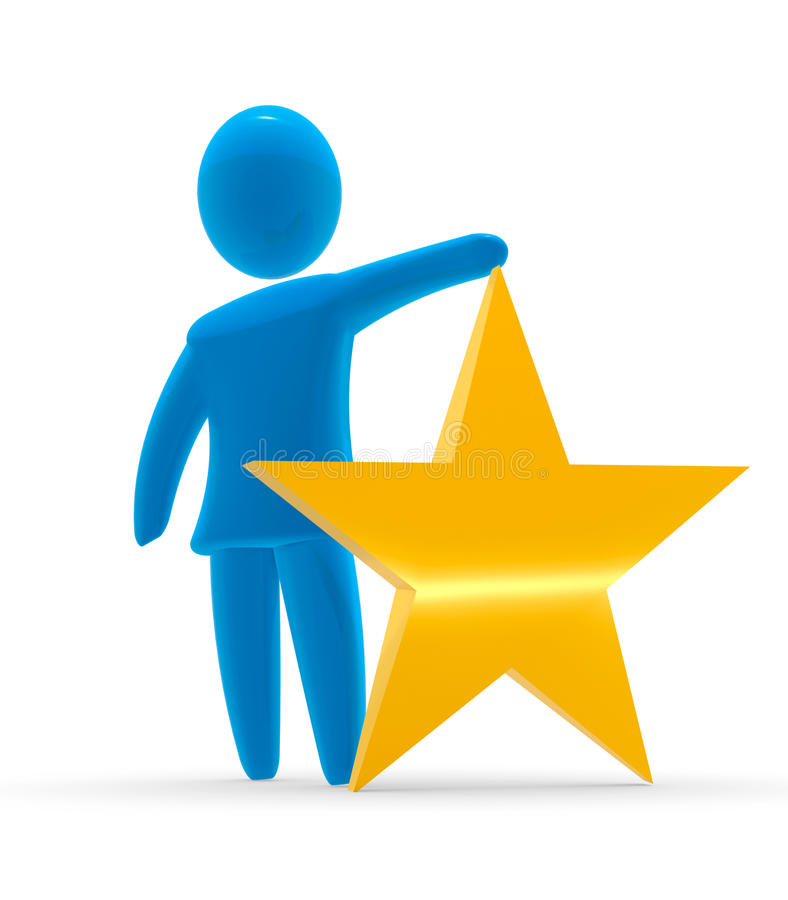 Gold star. Abstract blue figure hold golden star. Concept of Award and Quality