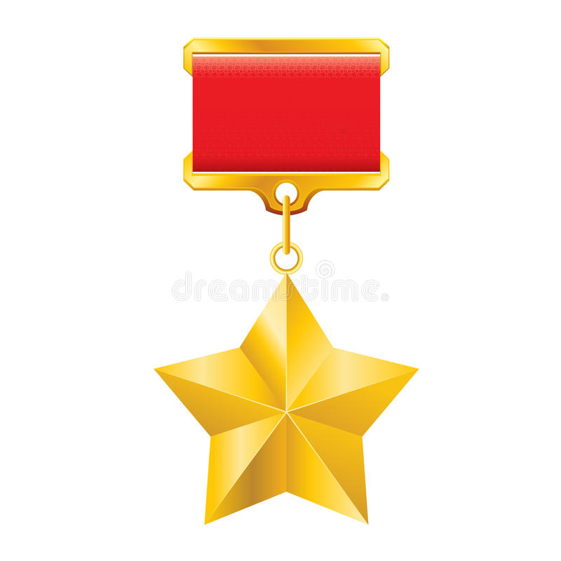 Gold star award. Hero of the Soviet Union gold star award. Illustration on white royalty free illustration