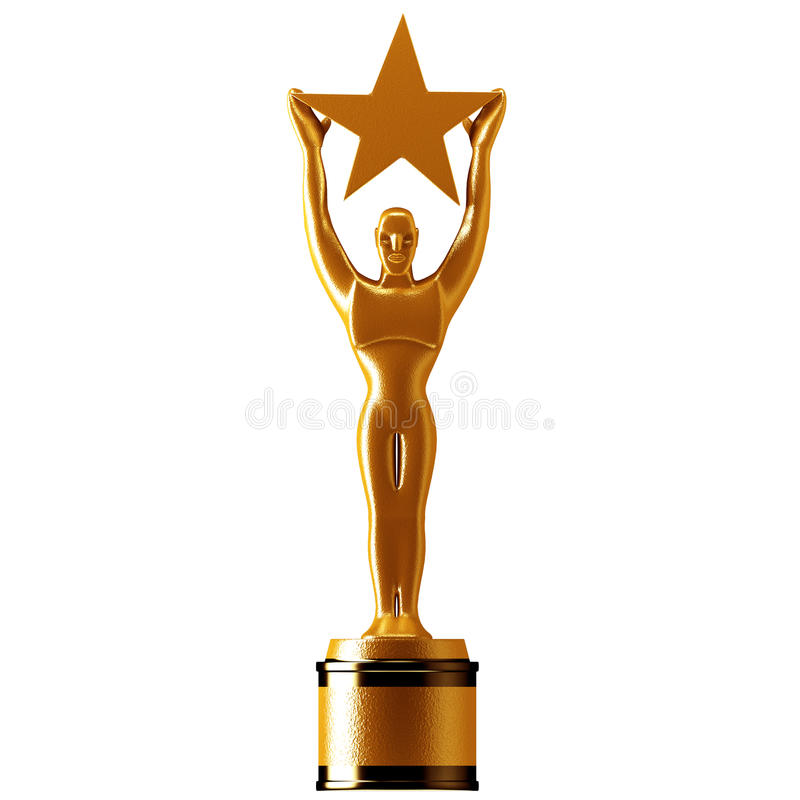 Gold Star Award. Holding A Gold Star Award stock illustration