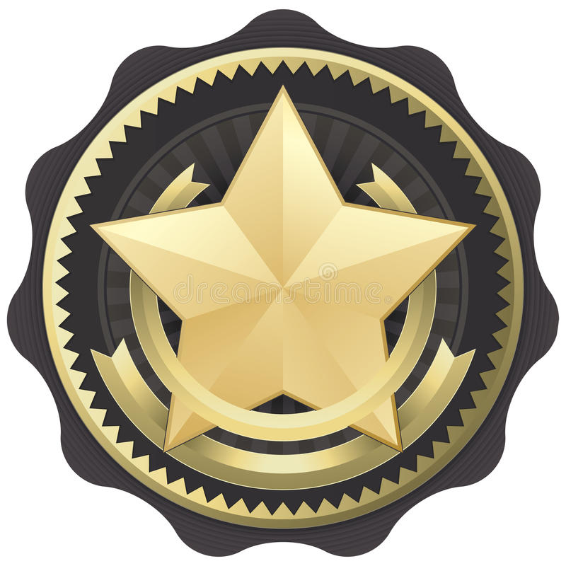 Gold Star Award, Badge, or Seal. Vector Illustration of a gold star award, seal, or badge with in an elegant style. Representations include: Achievement, Winning royalty free illustration