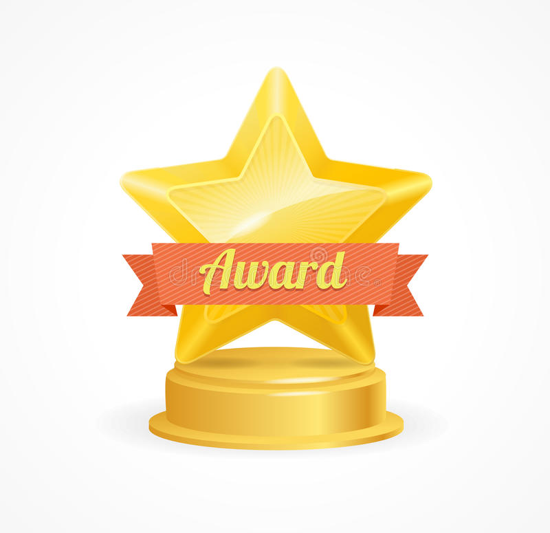 Gold Star Award. Vector. Gold Star Award with Orangw Ribbon. Vector illustration vector illustration