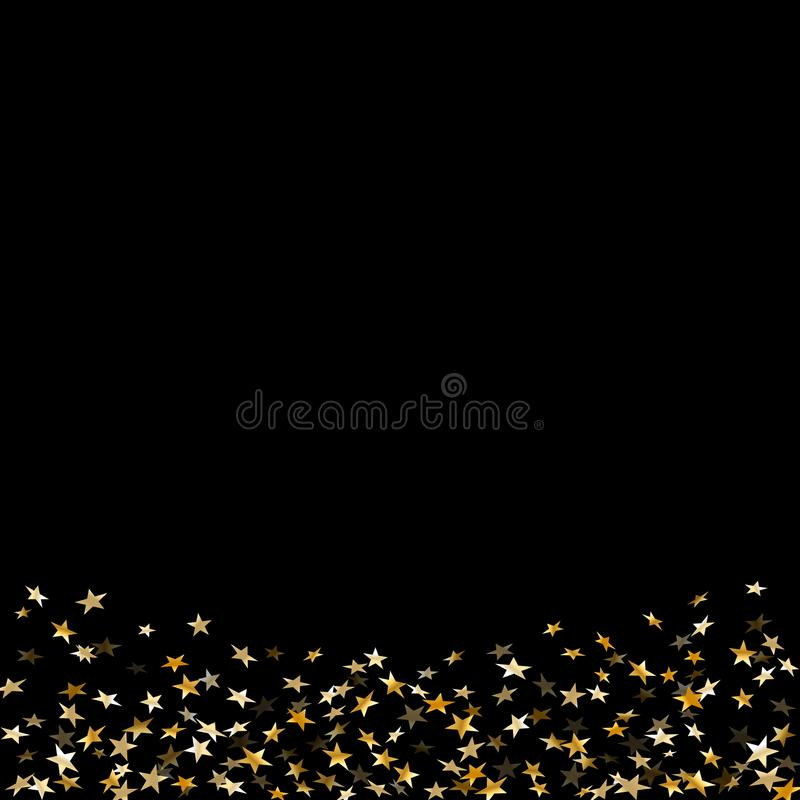 Gold star confetti celebration isolated on black background. Falling stars golden abstract pattern decoration. Glitter royalty free illustration