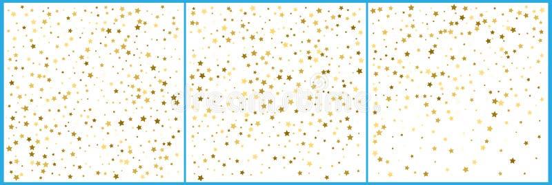 Gold star confetti celebrations. Simple festive modern design. Holiday vector. Set 3 in 1.  stock illustration