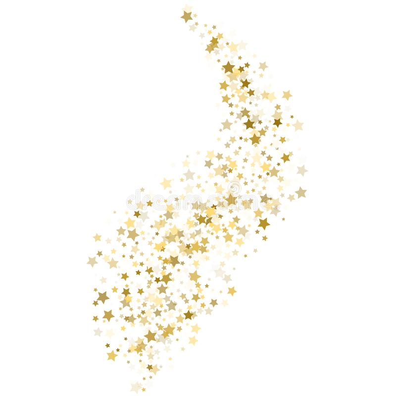 Gold star confetti rain festive holiday background. Vector golden paper foil stars falling down isolated on white background. royalty free illustration
