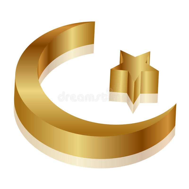 Download Gold star and crescent stock vector. Image of islam, crescent - 25797704