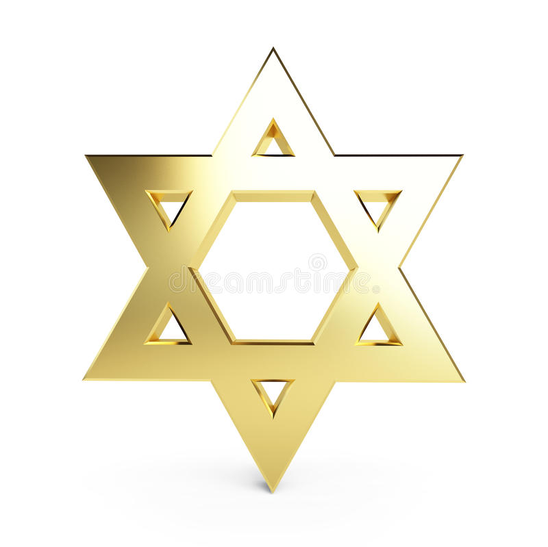 Gold star of David. On a white background royalty free illustration