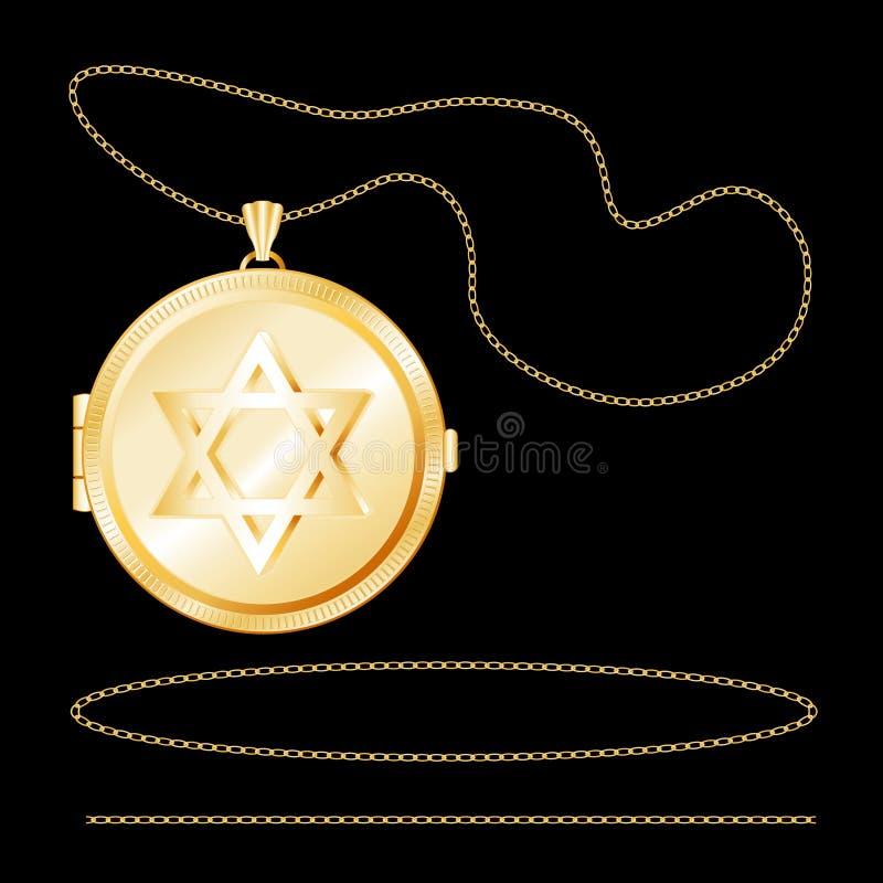 Download Gold Star of David Locket stock vector. Image of link - 6284154