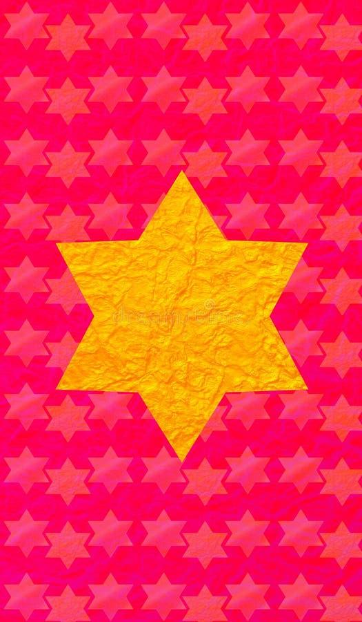 Gold Star of David red background. Vertical format for Smart phone. Gold Star of David red background. Yellow star on red background. Vertical format for Smart stock illustration