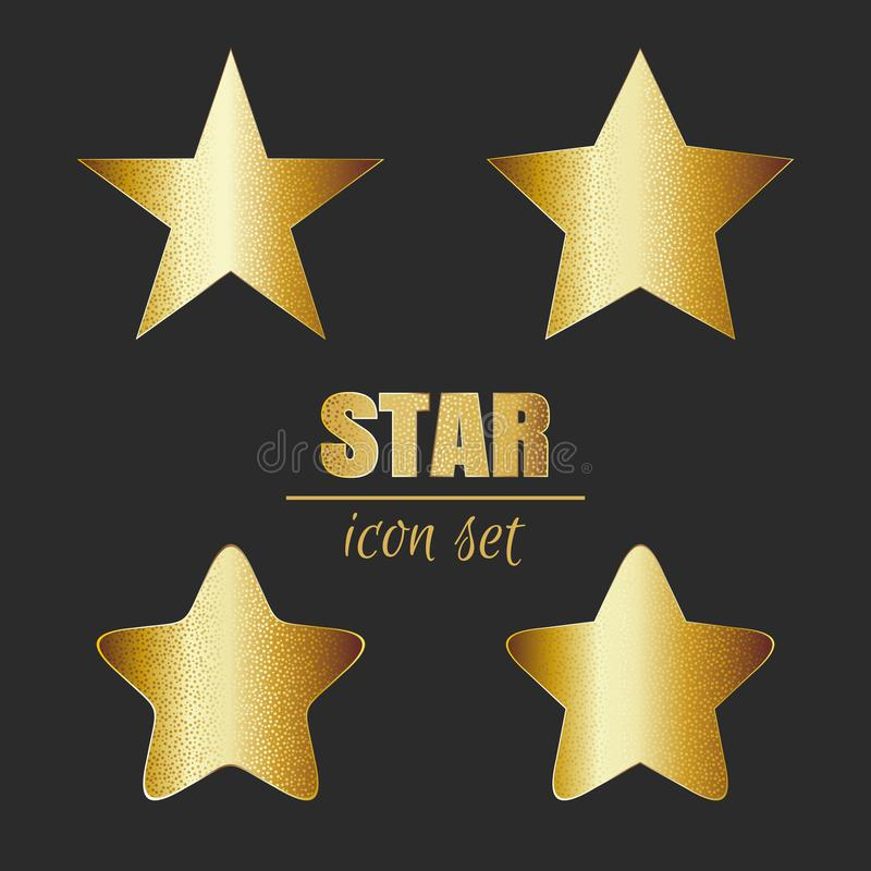 Gold star icon set on a dark background vector illustration