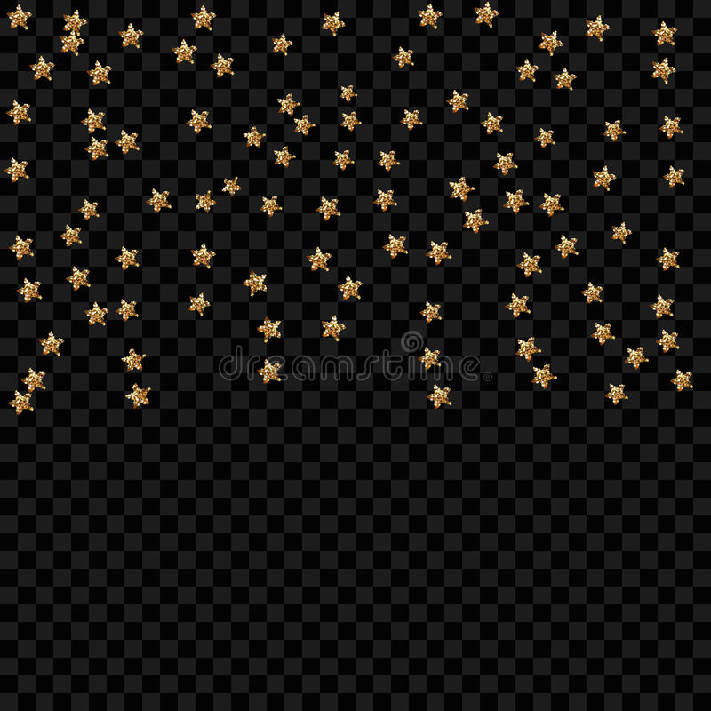 Gold star isolated on transparent background. Confetti celebration, Falling golden abstract decoration for party, birthday celebra stock illustration