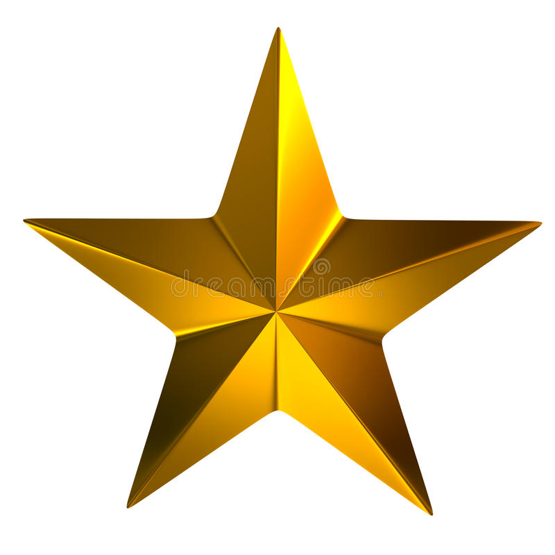 Gold star. Isolated on white background vector illustration