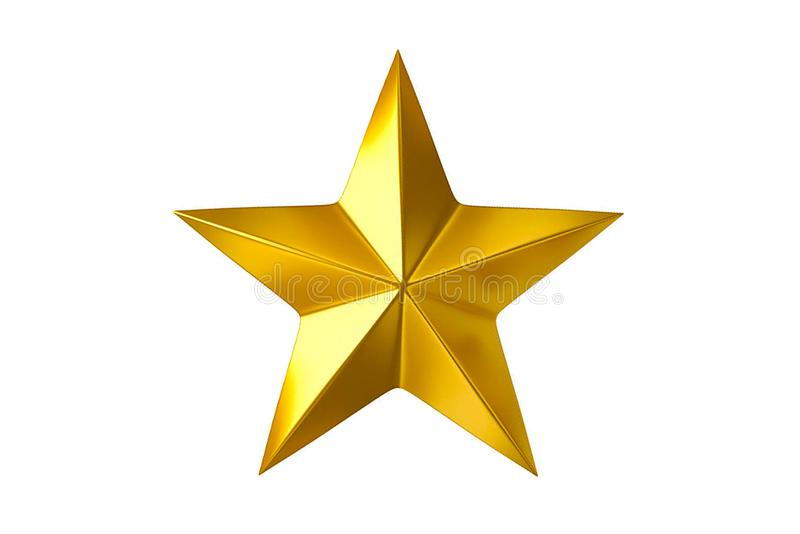 Gold star. Isolated on white background