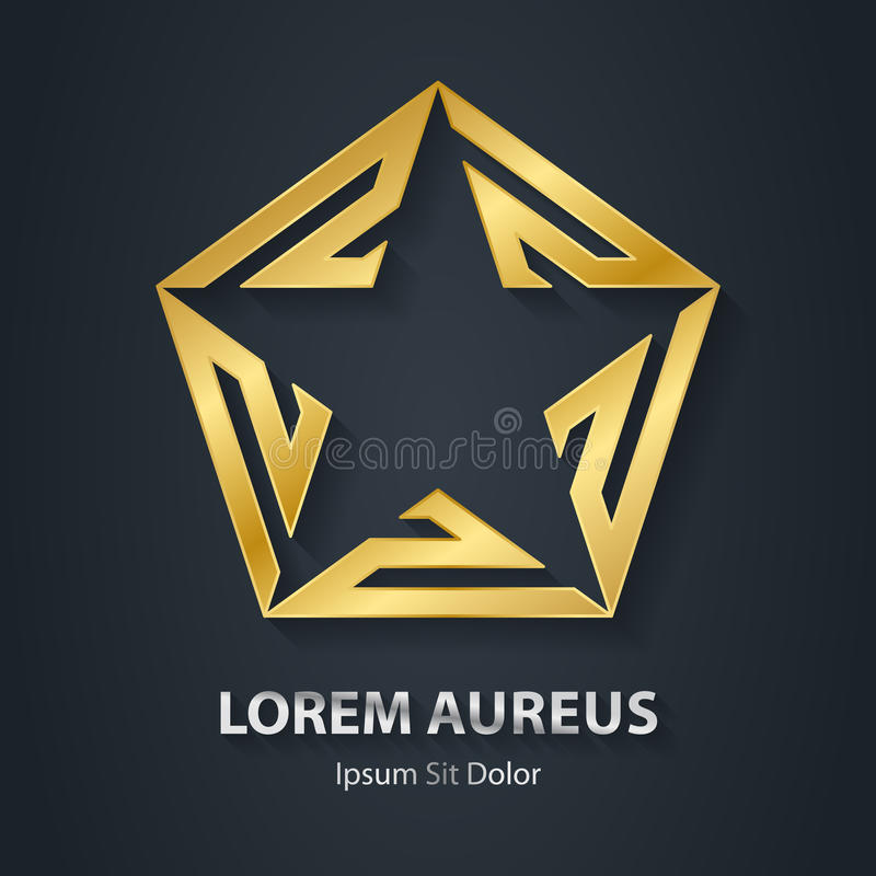 Gold star logo. Award golden 3d icon. Metallic logotype template stock illustration