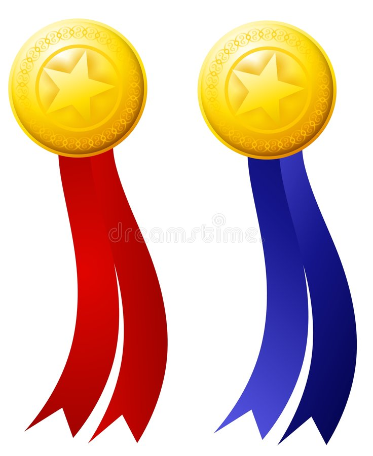 Gold Star Medals Red Blue Ribbons royalty free illustration