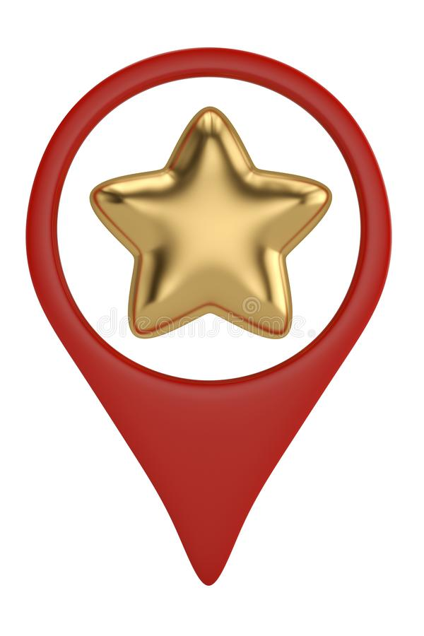 Gold star in position pin icon.3D illustration. Gold star in position pin icon. 3D illustration vector illustration