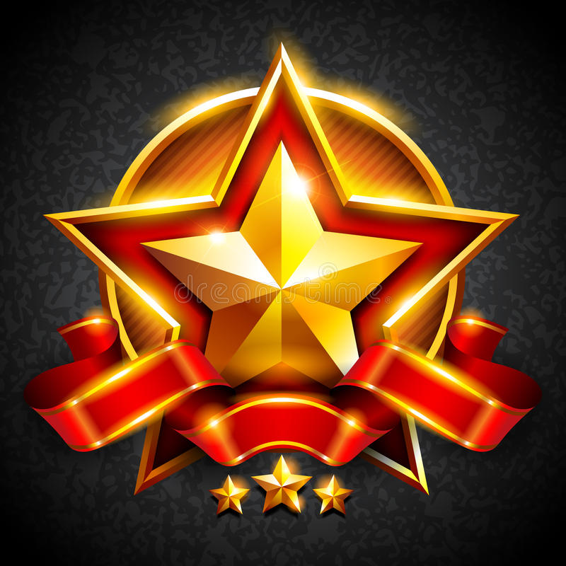 Gold star with a red ribbon royalty free illustration