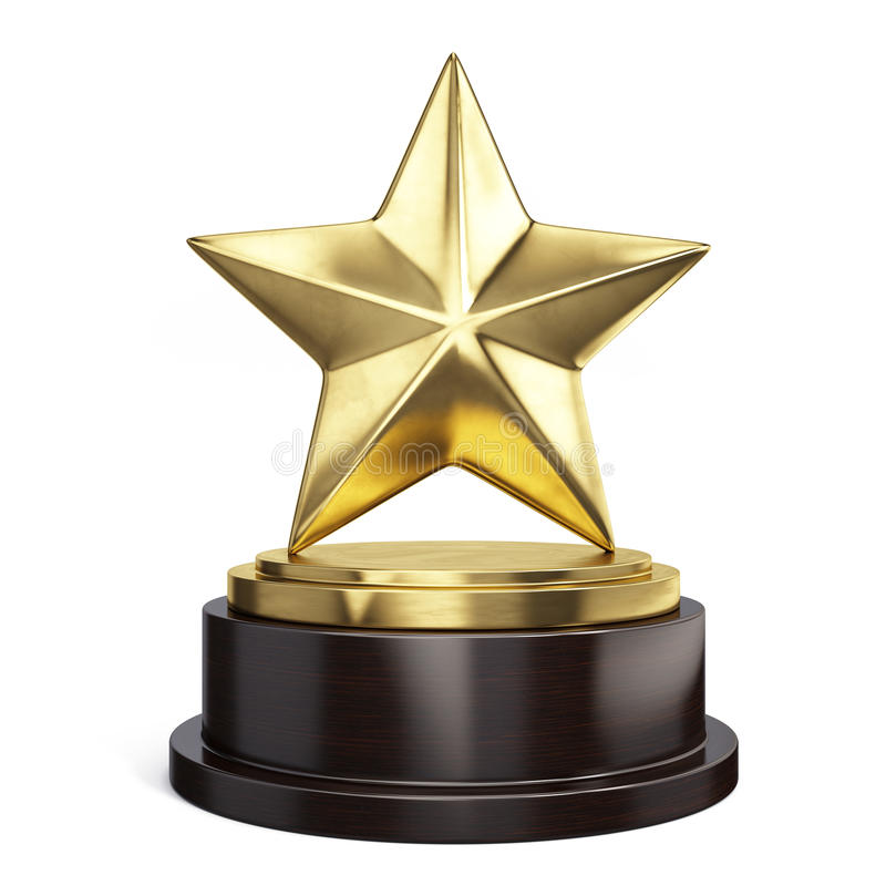 Gold Star Trophy Award On White Stock Illustration