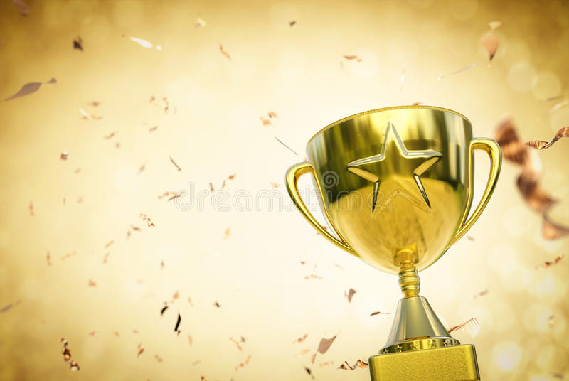 Download Gold Star Trophy On Glitter Background Stock Photo