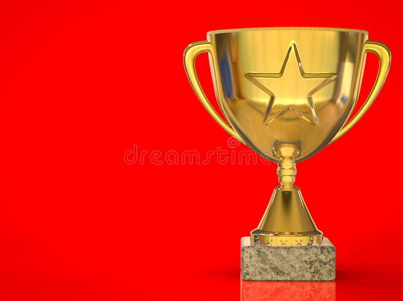Download Gold Star Trophy On Red Background Stock Image