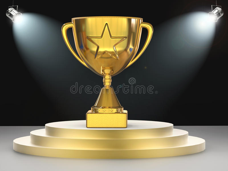 Gold Star Trophy On Stage Stock Image Image Of Sport