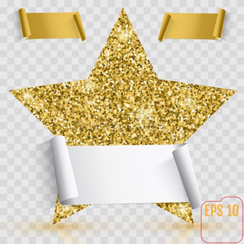 Gold star vector banner. Gold glitter. Template , card, vip, exclusive, certificate, gift luxury privilege voucher store present stock illustration