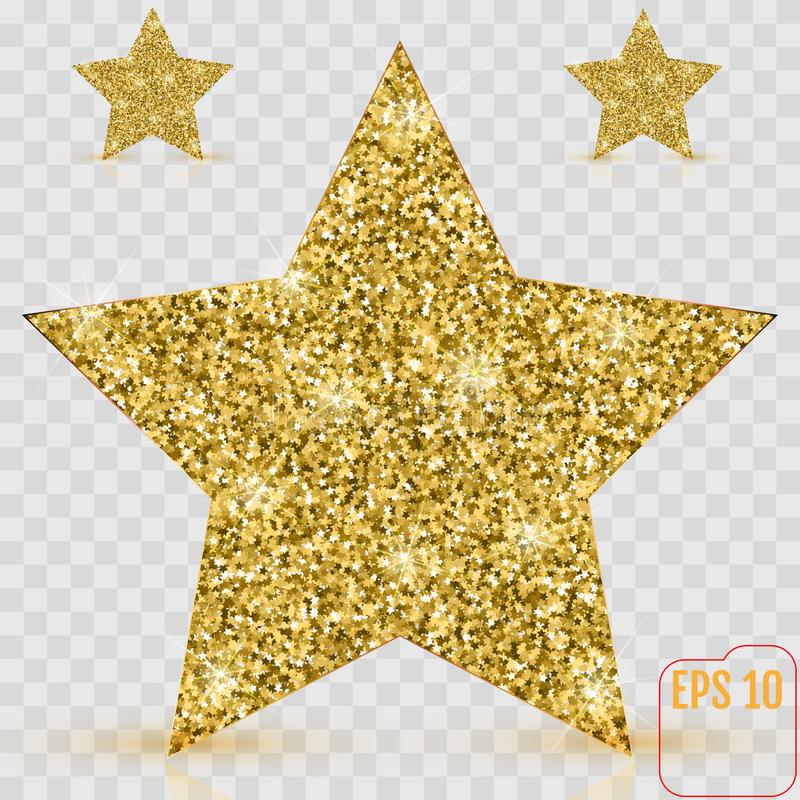 Gold Star Vector Banner Gold Glitter Template Card Vip Exc