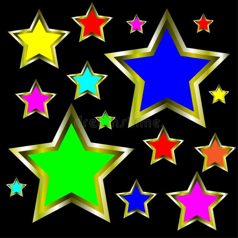 Gold Stars Abstract Background Illustration stock illustration