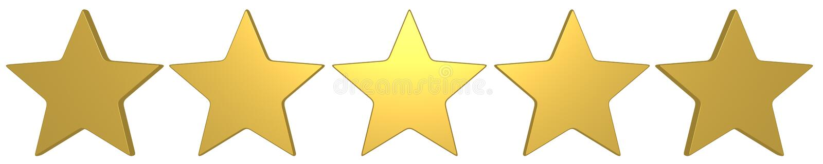 5 gold stars best score. 5 gold stars, great mark, excellent review result, maximal score, rate system stock illustration