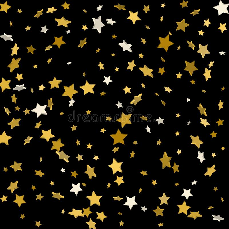 Gold stars on a black background. Vector illustration stock illustration