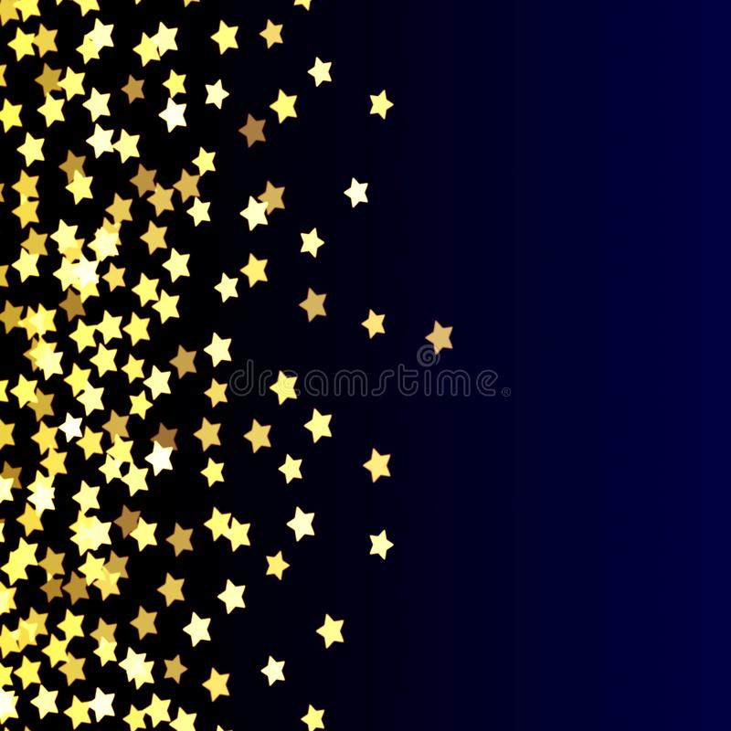 Gold stars on blue,yellow,bright, festive background, abstract, blue, fun, gold on dark, gradient. Abstract background black blue bright holiday Christmas royalty free illustration