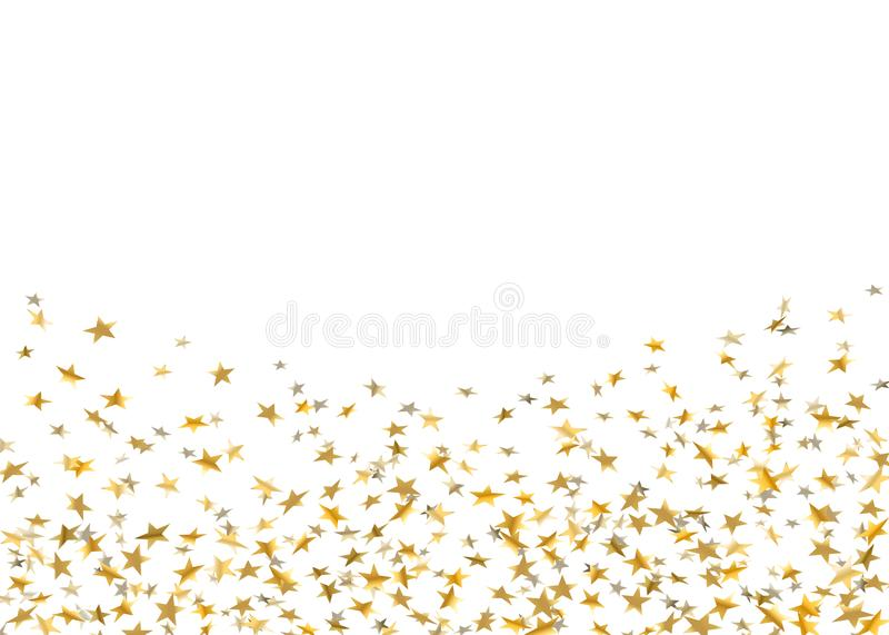 Gold stars falling confetti isolated on white background. Golden design festive party, birthday celebration, carnival. Anniversary. Stars confetti decoration vector illustration