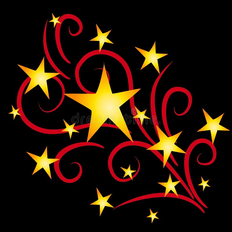 Gold Stars Fireworks on Black. A clip art illustration of shooting stars and fireworks exploding in gold yellow and red colors on black isolated background royalty free illustration
