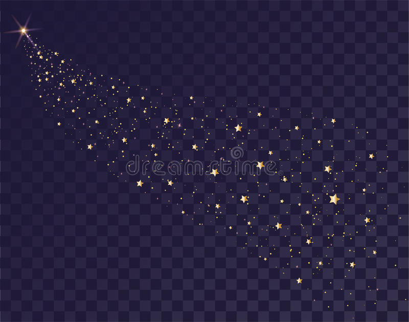Gold stars glittering trail of Santas sleigh. Tail of comet on transparent background in dark sky. Illustration in vector format stock illustration