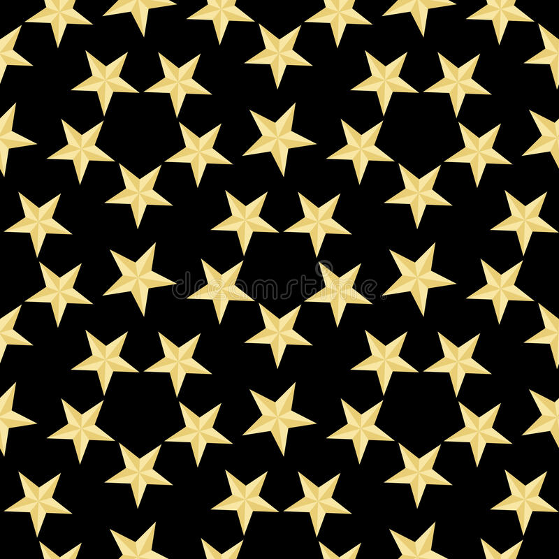Gold stars pattern on the black background. Vector Illustration.Modern stylish abstract texture.Abstract geometric shape texture. vector illustration
