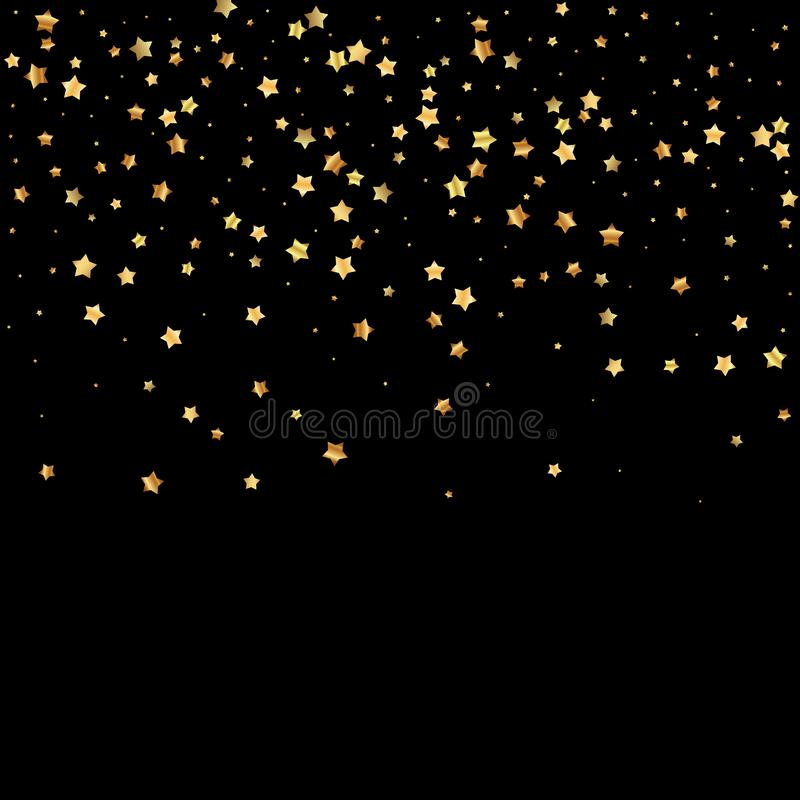 Gold stars random luxury sparkling confetti. Scatt. Ered small gold particles on black background. Alluring festive overlay template. Perfect vector illustration royalty free illustration