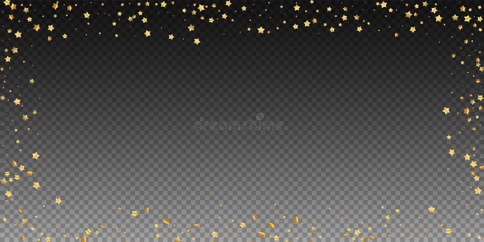 Gold stars random luxury sparkling confetti. Scatt. Ered small gold particles on transparent background. Bold festive overlay template. Beautiful vector royalty free illustration
