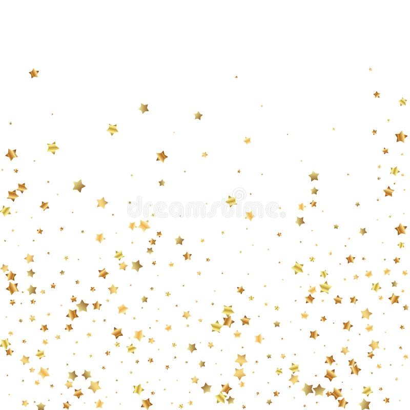 Gold stars random luxury sparkling confetti. Scatt. Ered small gold particles on white background. Adorable festive overlay template. Mind-blowing vector royalty free illustration