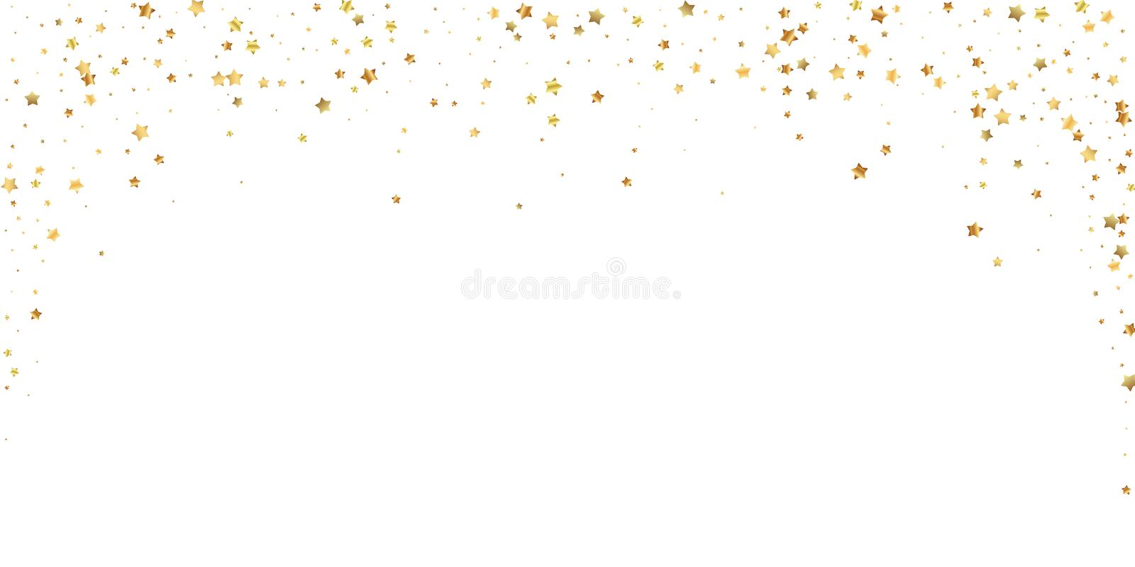 Gold stars random luxury sparkling confetti. Scatt. Ered small gold particles on white background. Beauteous festive overlay template. Precious vector vector illustration