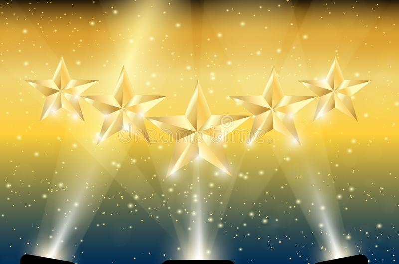 Gold 5 Stars in Spotlights. Spotlight shining on gold 5 stars and gold background with sparks. Five stars in light royalty free illustration