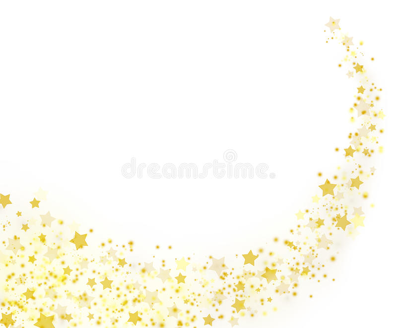 Gold stars trail on white background. royalty free illustration