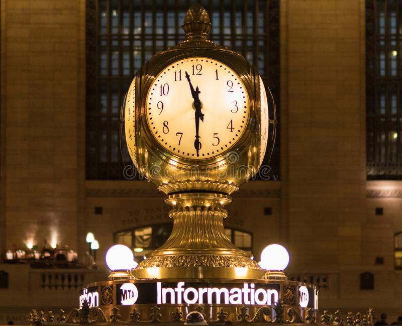 Gold Station Clock at 11:30 royalty free stock photography