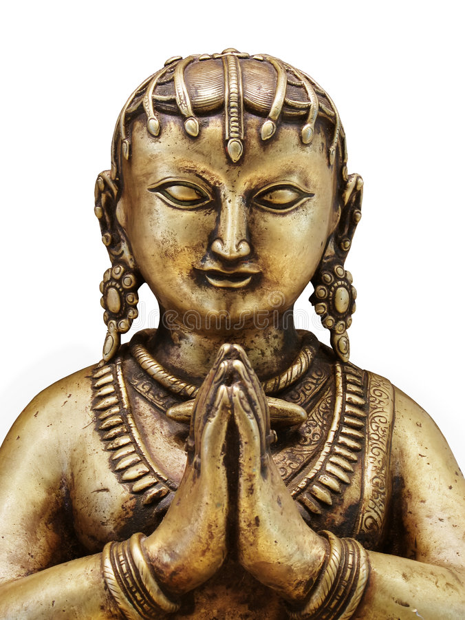 Gold statue of Indian woman with praying hands. 18th century gilt / gold covered statue. Isolated against white. Clipping path royalty free stock photo