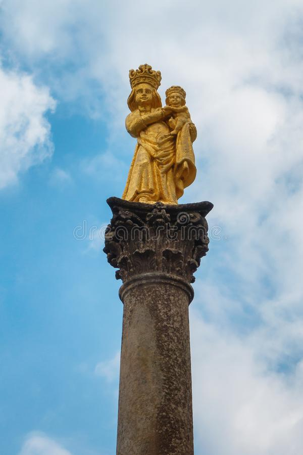 Gold Statue of Virgin Mary - Svata Hora , Pribram stock image