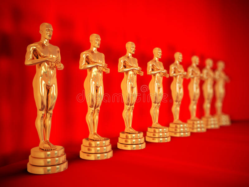 Gold statues on red. Statues of gold man over white, isolated. It is no Oscar award. With DOF effect stock illustration