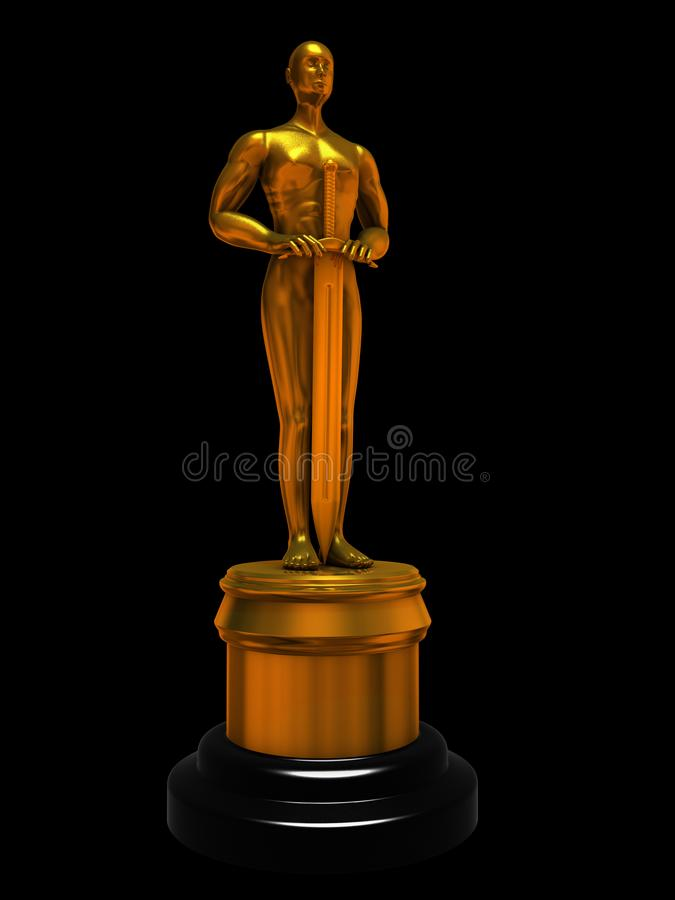 Gold statuette of man isolated on black stock illustration