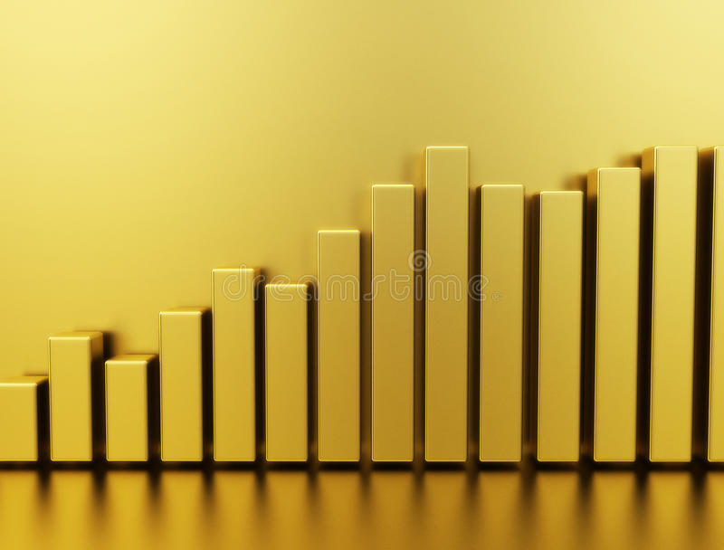 Gold stock price graph royalty free stock images